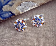 Portugal Blue Gold Lisbon 17th Century Antique Tile Replica Cuff links on Etsy, 20,91 €
