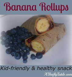 Banana Roll Ups- Whole Wheat Tortilla Wrap, Peanut Butter or Nutella  & Banana. Genius!