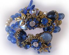 Miriam Haskell Cuff - Double strand memory wire with Sapphire, pearl, and filigree ornament