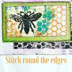 Mixed media stitching - create layers with silver gesso, black modelling paste & wallpaper leftovers. Stencil & block printing make a great combination Stencil Art, Stencils, Textile Recycling, Modeling Paste, Stamping, Stitching, Mixed Media, Layers, Printing