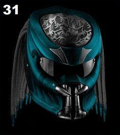 Cool Bike Helmets, Biker Helmets, Custom Motorcycle Helmets, Custom Helmets, Motorcycle Style, Motorcycle Clubs, Biker Accessories, Motorbike Accessories, Predator Helmet