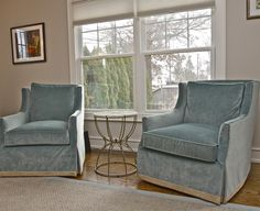 gorgeous soft velvet swivel chairs with taping on bottom offer great seating with style