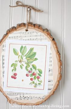 DIY Wood Slice Art with Botanic Print