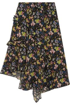 Topshop Unique - Aster Ruffled Printed Silk Crepe De Chine Skirt - Black