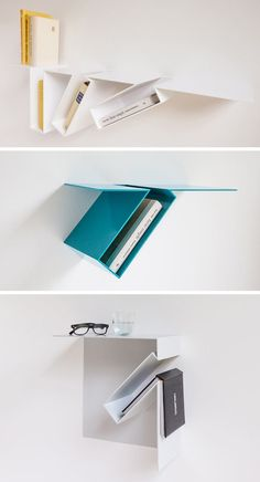 Belgian designer Filip Janssens, has created a wall shelf that allows the books it holds to be highlighted by placing them at odd angles. Unique Shelves, Metal Shelves, Wall Shelves, Metal Sheet Design, Sheet Metal Art, Iron Furniture, Steel Furniture, Pliage Tole, Furniture Design Images