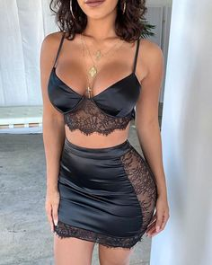Spaghetti Strap Eyelash Lace Insert Crop Tank & Skirt Sets trendiest dresses for any occasions, including wedding gowns, special event dresses, accessories and women clothing. Suit Fashion, Look Fashion, Fashion Outfits, Night Outfits, Dinner Outfits, Woman Outfits, Modern Fashion, 90s Fashion, Fashion Bags