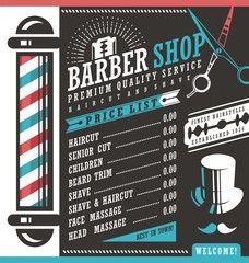Barber Shop vector price list template