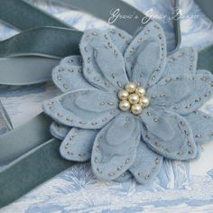 Grey Clematis sash by Gracie's Garden Bazaar, via Flickr