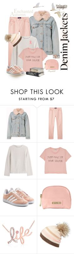 """Jean Jacket"" by ragnh-mjos ❤ liked on Polyvore featuring Alexander Wang, MANGO, Helmut Lang, Monki, adidas Originals, Kobelli and Lipsy"