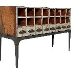 Great industrial stand for vintage cubbies by Peck & Company in Houston, Tx