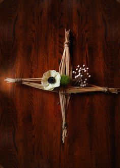 Brigids Cross with flowers--simple and beautiful