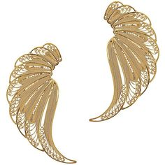Mallarino Violetta Large Wing Earrings ($328) ❤ liked on Polyvore featuring jewelry, earrings, gold, handcrafted earrings, filigree jewelry, hand crafted jewelry, wing jewelry and 24k earrings