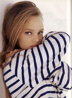 Vanessa Paradis, stripes, winged eyeliner
