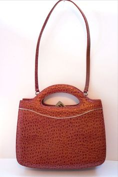 VTG FRENCHY OF CALIFORNIA PURSE Rust Brown Embossed Framed SHOULDER BAG Hand Bag #FrenchyofCalifornia #Frame #Everyday