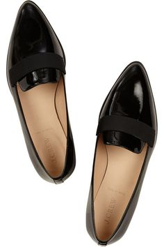 Heel measures approximately 25mm/ 1 inch Black patent-leather Slip on