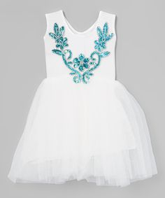 Just Couture White & Blue Floral Sequin Dress - Infant, Toddler & Girls | zulily