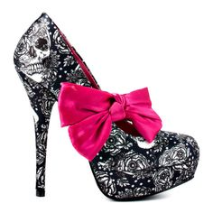 Night A Light Platform Heels ♥ #skull #roses