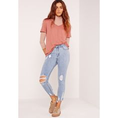 Missguided Sinner High Waisted Destroyed Hem Skinny Jeans ($40) ❤ liked on Polyvore featuring jeans, blue, destroyed skinny jeans, skinny jeans, blue jeans, blue skinny jeans and ripped jeans
