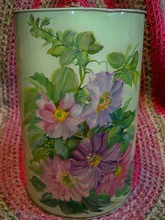Vintage Floral Trash Can Waste Basket Painted Daisies Tinware by BlackRain4