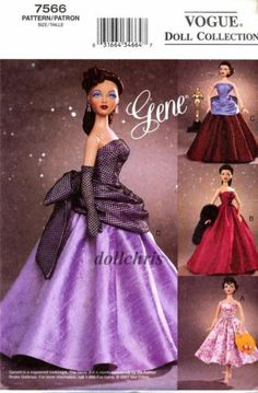Fancy Barbie gown Free Copy of Pattern - Vogue 7566 Sewing Doll Clothes, Doll Clothes Barbie, Sewing Dolls, Barbie Dress, Barbie Sewing Patterns, Doll Dress Patterns, Clothing Patterns, Moda Barbie, Barbie Mode