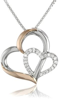 XPY Sterling Silver and 14k Rose Gold Diamond Double Heart Pendant Necklace. ♥♥♥♥ ❤ ❥❤ ❥❤ ❥♥♥♥♥