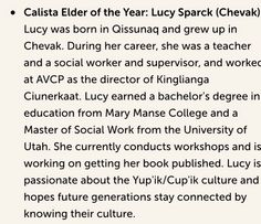Humbled at our mother being selected as the Calista region's Elder of the Year! http://www.calistacorp.com/business/press_release/calista-shareholder-award-recipients#.V0h9CEj3bCQ