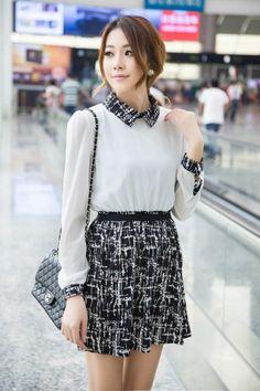 Preppy Style Women's Split Joint Long Sleeve Chiffon Causal Dress