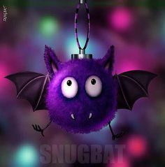 Fluffbat Gothic Christmas Bauble Card by Snugbat http://www.wings-in-the-night.co.uk/gothic-christmas--pagan-yule-cards-88-c.asp  #gothic #christmas
