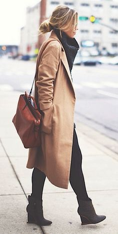 Camel coat, black booties, tights, and big scarf.
