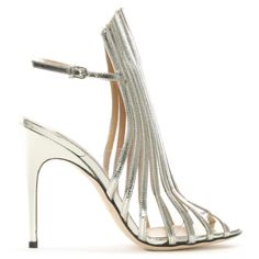 1242b4bd07de Buy the Sergio Rossi Amber 105 Silver Metallic Leather Lattice Sandals  online today at Daniel Footwear