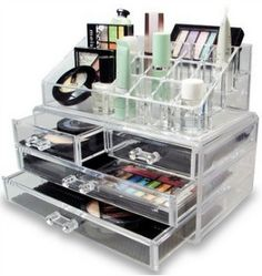 If you've got a large makeup collection an acrylic makeup organizer with both drawers and open organizer storage at the top can be perfect {featured on Home Storage Solutions 101}