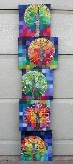 Een leuke boom. Echt herfst. Gemaakt met warme en koude kleuren. Super mooi!: