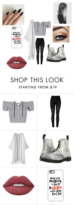 """""""Untitled #275"""" by jazel117 on Polyvore featuring Topshop, WithChic, Dr. Martens, Lime Crime and Casetify"""