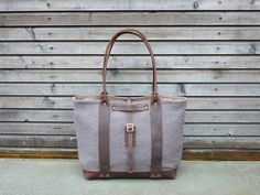 Boiled wool tote bag with oiled leather handles by treesizeverse, $179.00