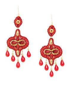 Red Chandelier Drop Earrings by Miguel Ases at Gilt