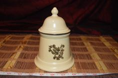"""Pfaltzgraff Village Sugar Bowl w/ Lid 6-22 Serving Piece Tan w/ Brown 6""""x4 1/2"""" #Pfaltzgraff"""