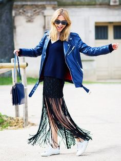 Pernille Teisbaek wears a sweater, fringe skirt, blue leather jacket, Chloé bag, and white sneakers 2016 Fashion Trends, Fashion Week, Fashion Looks, Street Fashion, Paris Fashion, Fashion Bloggers, Women's Fashion, Street Chic, Estilo Blogger