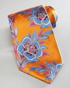 Large Flower Silk Tie, Orange by Ermenegildo Zegna at Neiman Marcus.