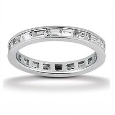 Sterling Silver Baguette Cz Eternity Wedding Band Ring Stackable