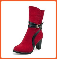 Women's Retro Faux Suede Buckled Straps Round Toe Side Zipper Block High Heel Mid Calf Boots