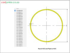 141 2D CAD Blocks: USA Steel Sections - AISC Round HSS and Pipe CAD Format: AutoCAD 2013  Block Type: 2D Dynamic (1x141 Lookup Tables)  Units: mm  Description:  A dynamic block made using the AISC Tables.  The block is parametric and uses lookup tables to produce 141 different blocks. The block can be edited to user dimensions with the standard AutoCAD Properties editor Steel Properties, Cad Blocks, Autocad, 2d, The Unit, Editor, Tables, Type, Mesas