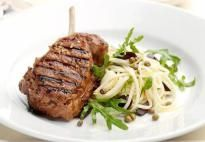 Looking to change your char-grilled steak and vegies repertoire? Well this tender char-grilled veal with its zippy pasta and rocket side should fit the bill just nicely.its delicious! Best Beef Recipes, Veal Recipes, Healthy Recipes, Veal Cutlet, Green Peppercorn, Char Grill, Juice Of One Lemon, Tapenade, Linguine