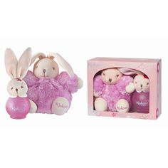 KALOO LILIBLUE-Baby Girl Gift Set- includes a plush toy and 100ml scented water spray in a gift box- Alcohol Free and Hypo-Allergenic for sensetive skin.Spray on hand and rub on babies skin, spray on sheets or room, also a fresh scent for new moms. A Floral and Fruity scented water with, citron and red berry top notes; jasmine and orange heart notes; musk and vanilla base notes matches this Fluffy Kaloo Liliblue set. A perfect gift for a baby girl.