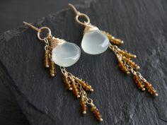 Aqua Chalcedony Tourmaline Long Dangle Earrings 14K Gold