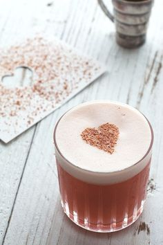 A romantic cocktail for Valentine's Day: 1 1/2 oz gin 1/2 oz Amaro Montenegro 1/2 oz Aperol 1/2 oz lemon juice 1/2 oz grenadine 1 egg white freshly ground cinnamon for garnish
