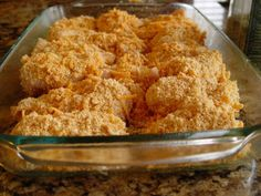 Crispy Cheddar Chicken - REVIEW: This was super easy and delicious.  I only used 1 sleeve of crackers and 3 large chicken breasts.  I mixed in some extra seasonings (onion powder, seasoning salt) in with the cracker crumbs.  I didn't use as much cheese or milk as called for in the recipe.  I just put some in the container and added more as needed.  Definitely will be making this again.