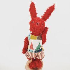 Mohair bunny rabbit plush kawaii plush handmade by WonderandKind