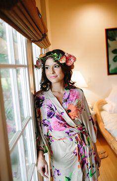 Bridal getting ready robe - Hawaiian wedding