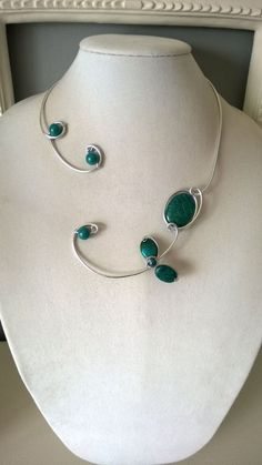 Teal jewelry Teal necklace Teal open collar necklace Teal