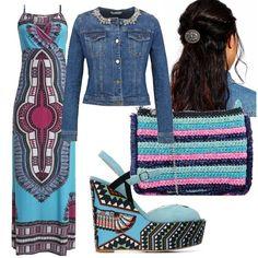 Look etnico ed eccentrico per chi ama farsi notare. Colore e stile in questo outfit che sicuramente colpirà. Tra gli accessori anche un fermaglio per i capelli; un esempio di acconciatura da copiare! Ethnic Chic, Boho Style, Boho Fashion, Casual, Outfits, Italia, Bohemian Fashion, Suits, Boho Outfits